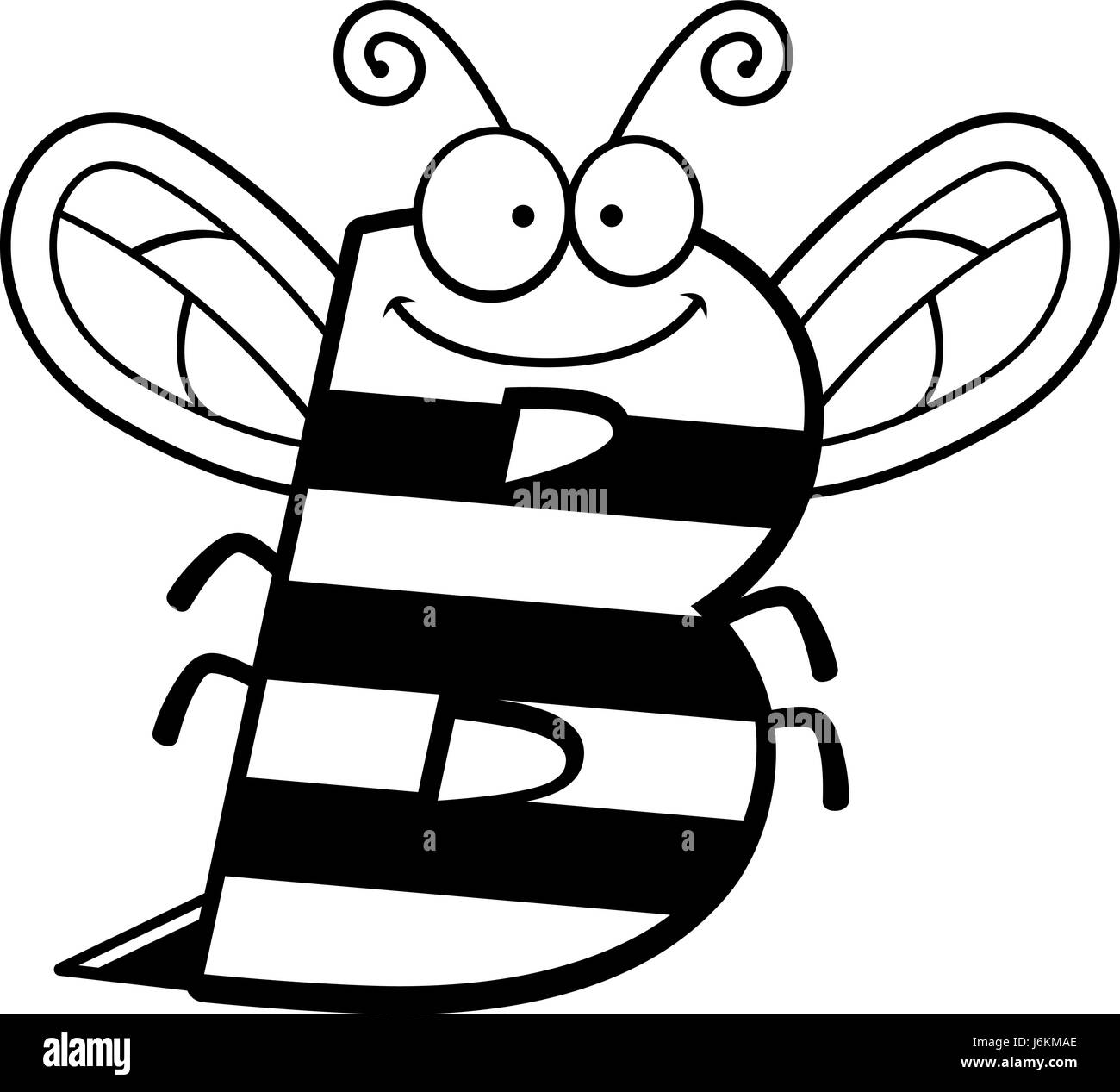 a cartoon illustration of the letter b with a bee theme stock
