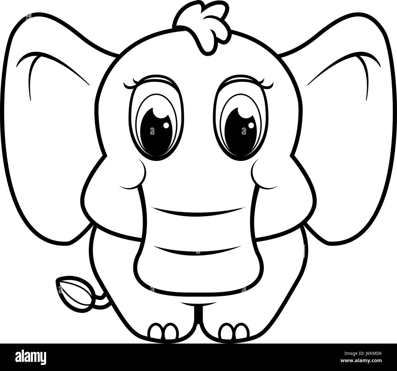 a baby cartoon elephant standing on four legs stock vector art