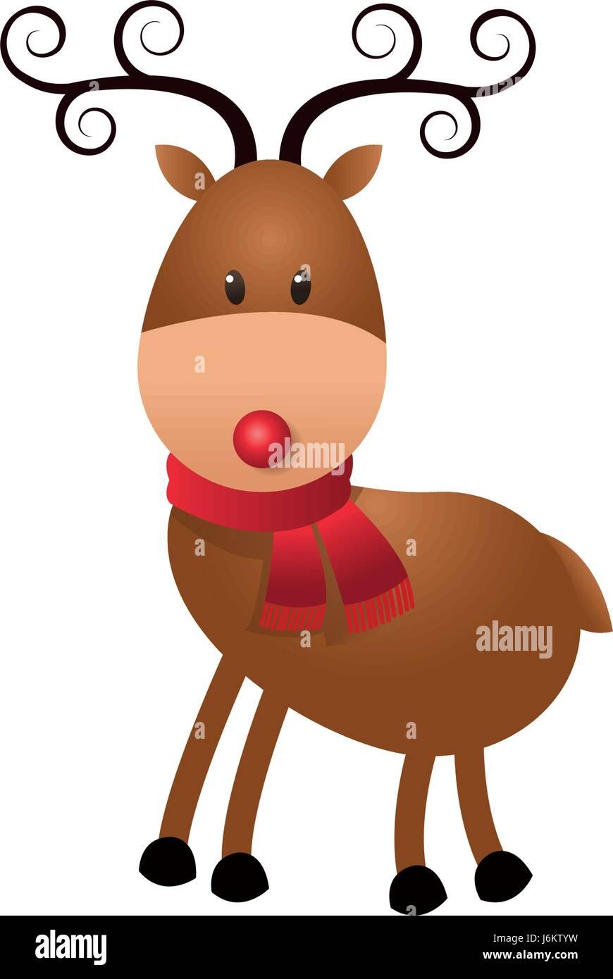 christmas cute reindeer scarf standing animal cartoon stock vector