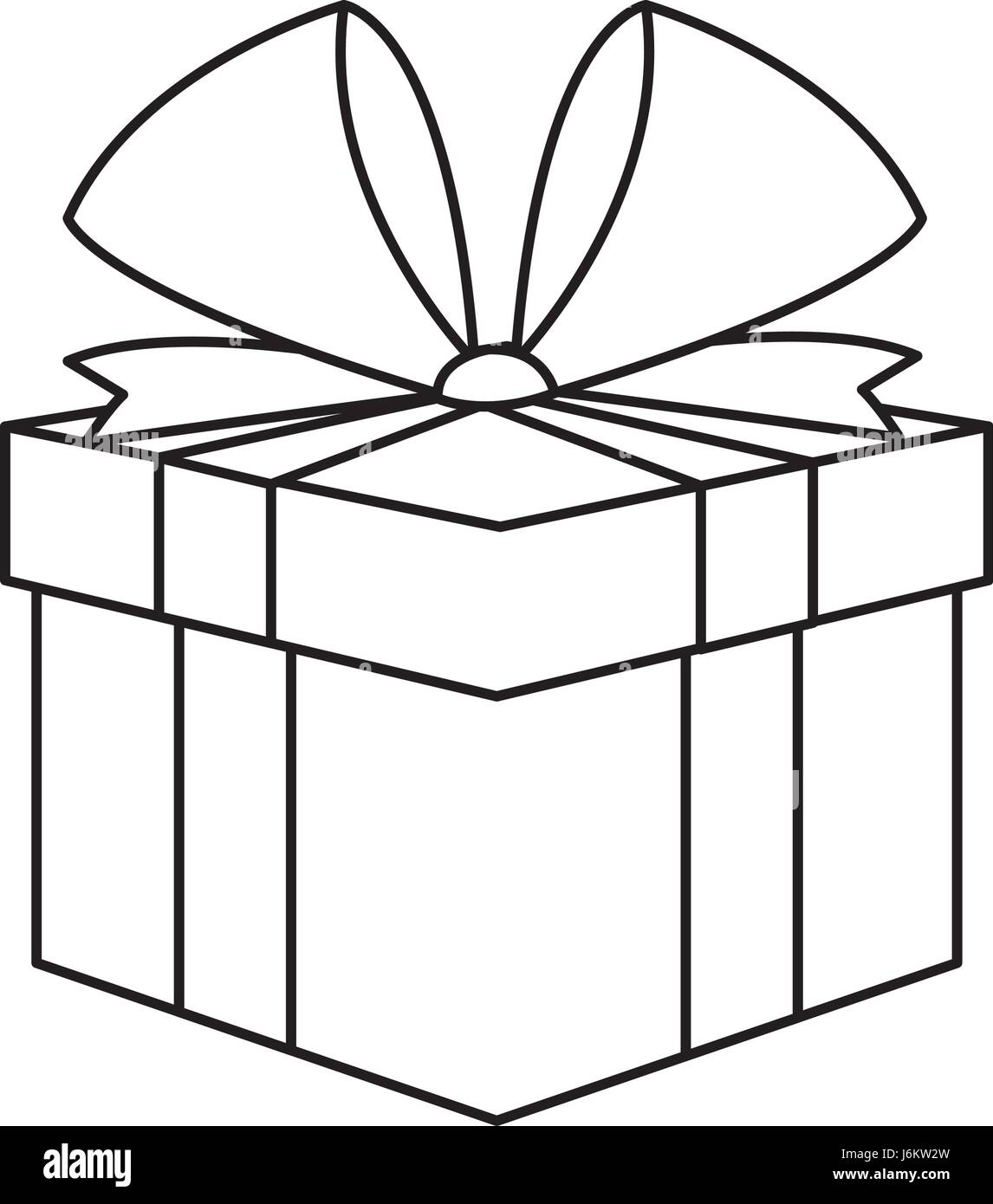 Christmas present box gift ribbon decoration outline stock