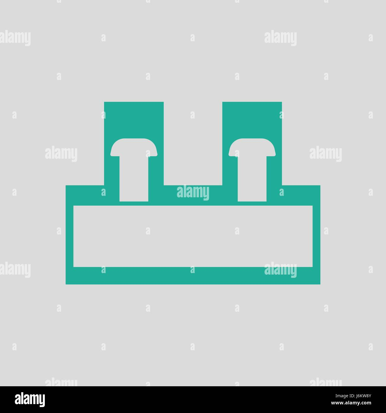 Electrical connection terminal icon. Gray background with green ...