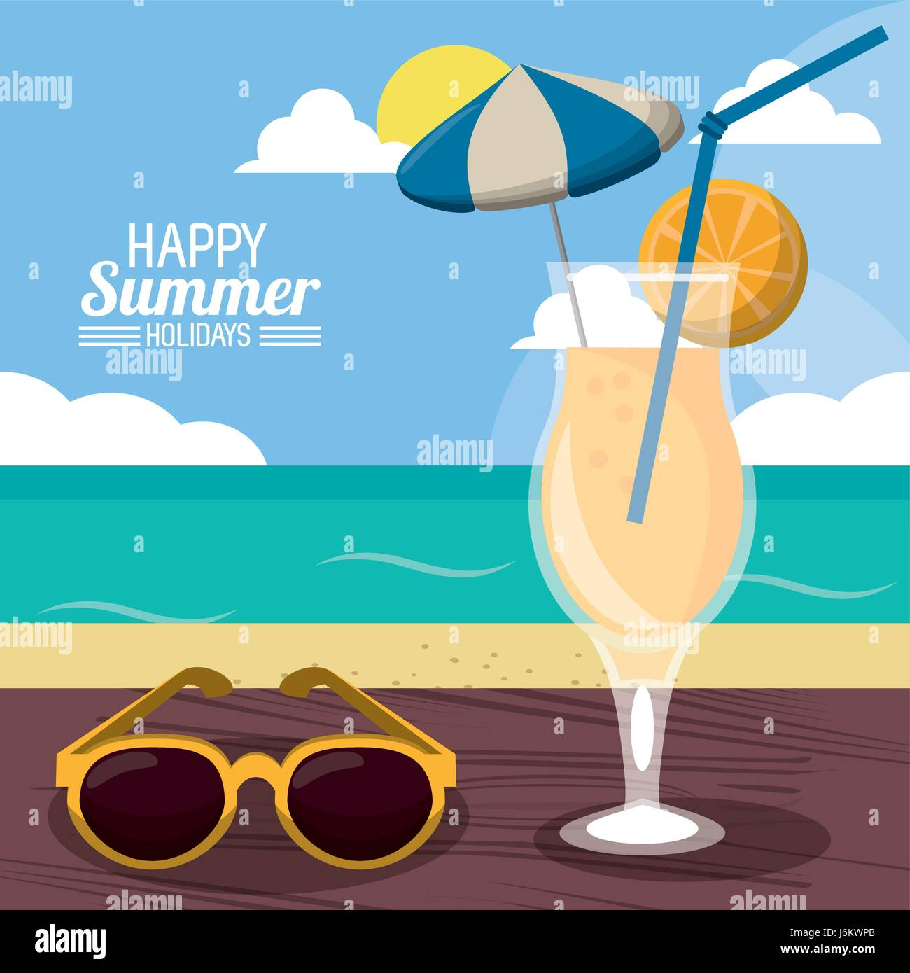 Happy Summer Holidays Poster Beach Cocktail Sunglasses Over Wooden