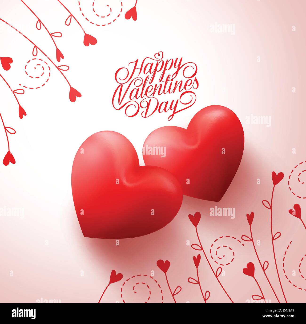Two red hearts for lovers with happy valentines day greetings two red hearts for lovers with happy valentines day greetings vector in white background with flowers vine pattern vector illustration kristyandbryce Image collections