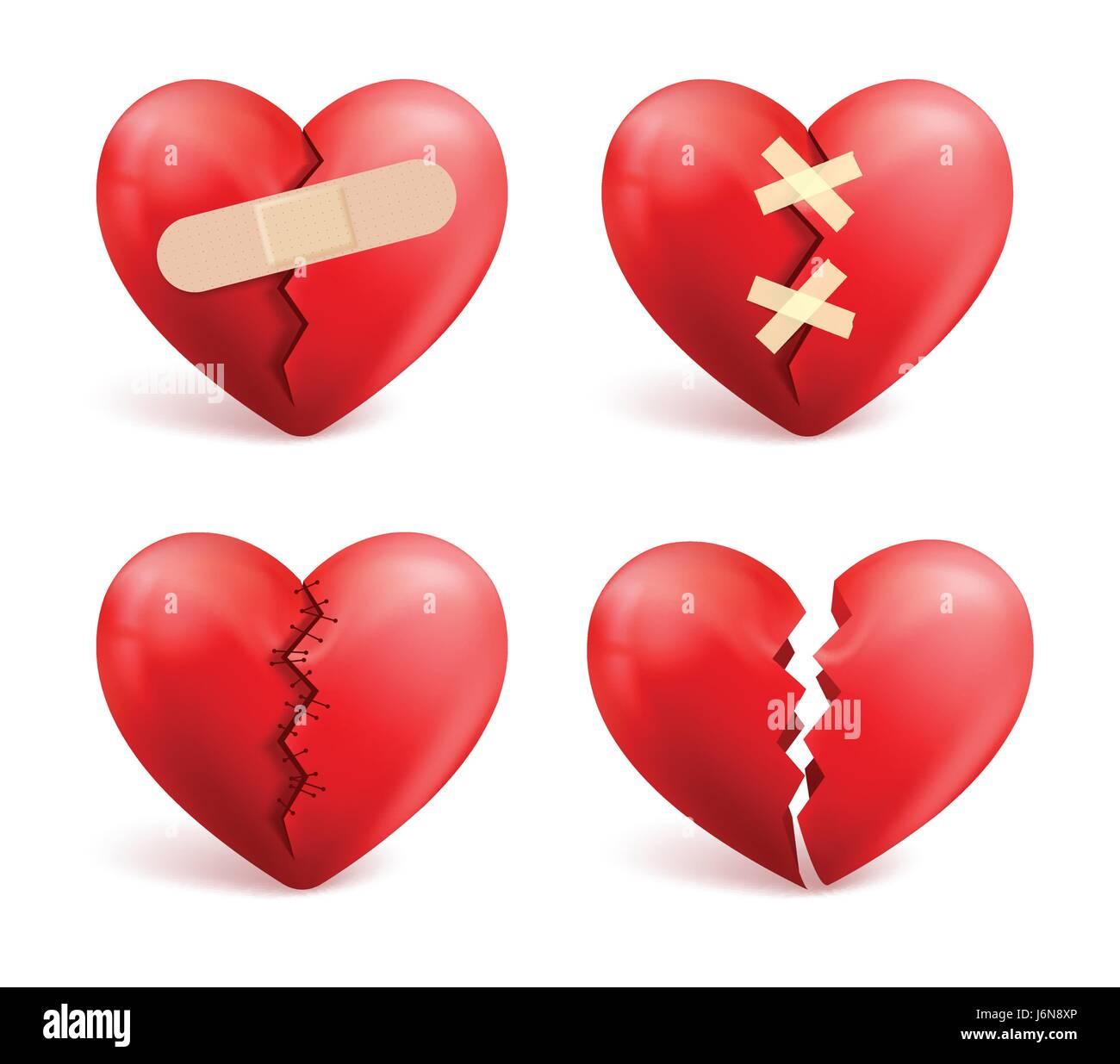 Broken hearts vector set of icons and symbols in red color with broken hearts vector set of icons and symbols in red color with wound patches buycottarizona