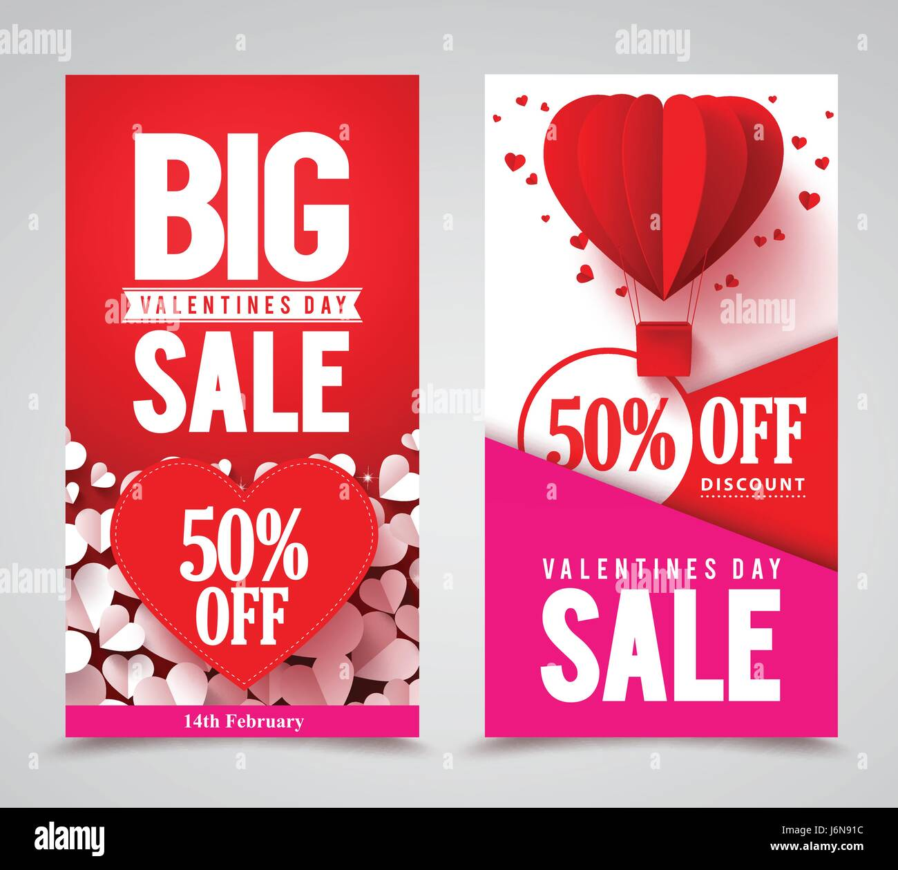 valentines day sale vector poster designs and web banners with red hearts elements for store promotion vector illustration