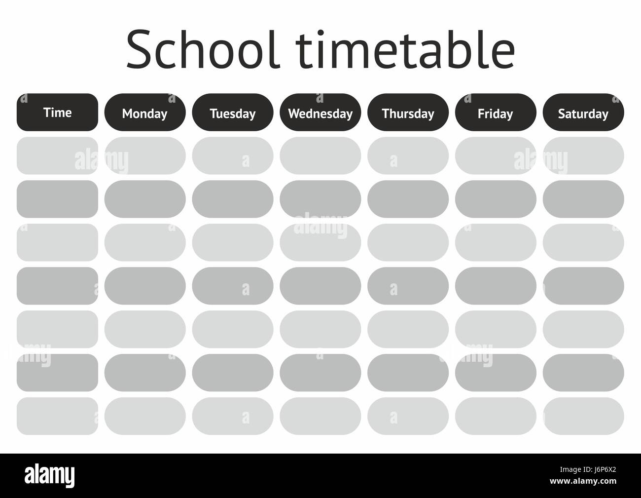 Vector School Timetable weekly curriculum design template – School Time Table Designs