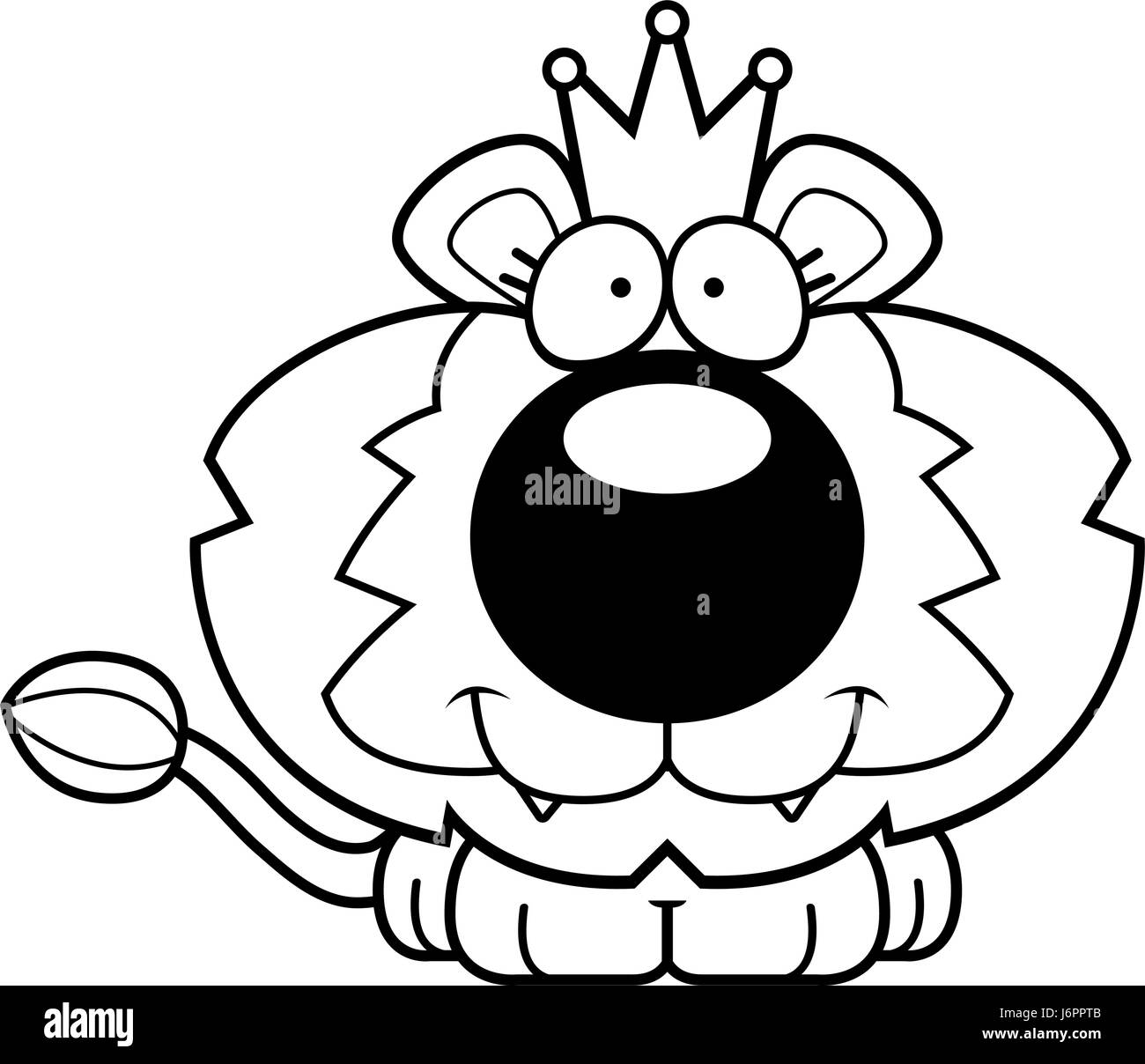 a cartoon illustration of a lion king with a crown stock vector