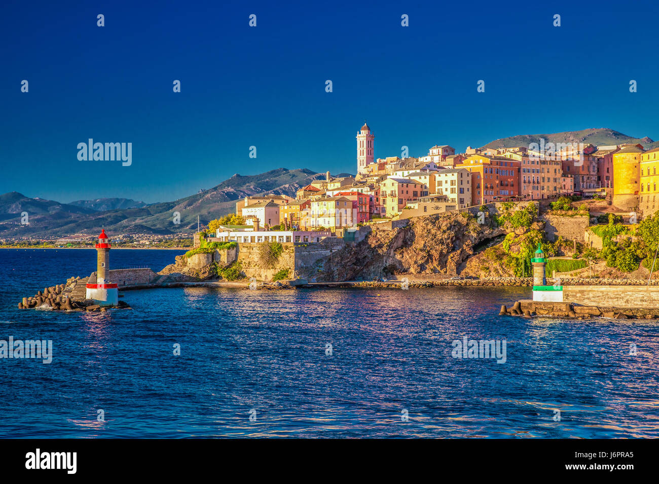 Cafe in the vieux port terra vecchia bastia corsica france stock - View To Bastia Old City Center Lighthouse And Harbour Bastia Is Second Biggest Town