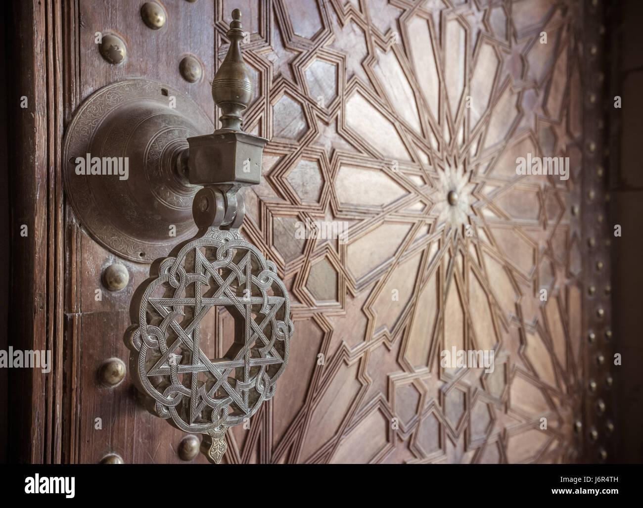 Ancient moroccan doors - Stock Image - Antique Moroccan Wood Art Stock Photos & Antique Moroccan Wood Art