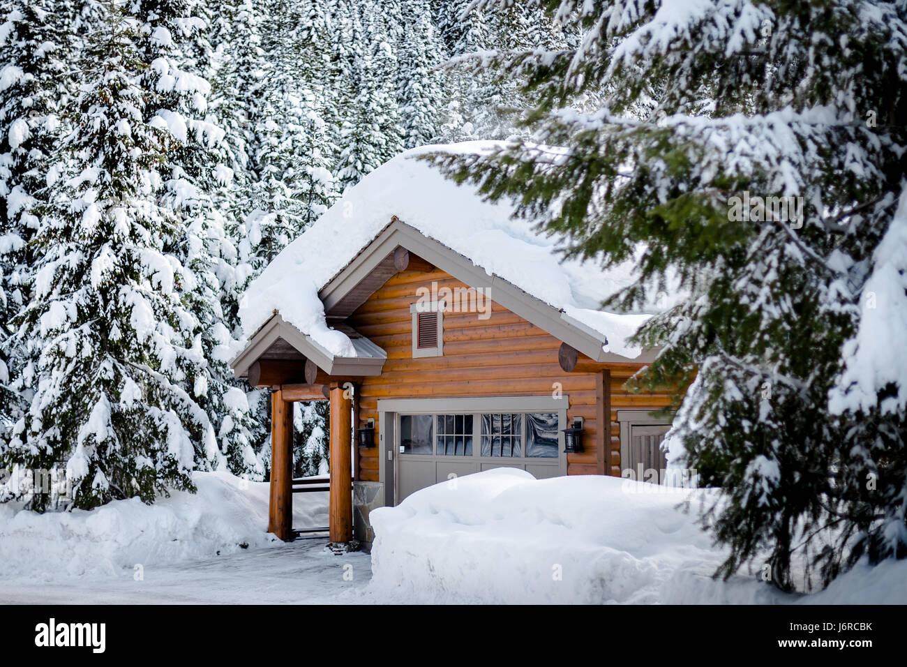 Snowy Log Cabin ~ Whistler canada cabin stock photos
