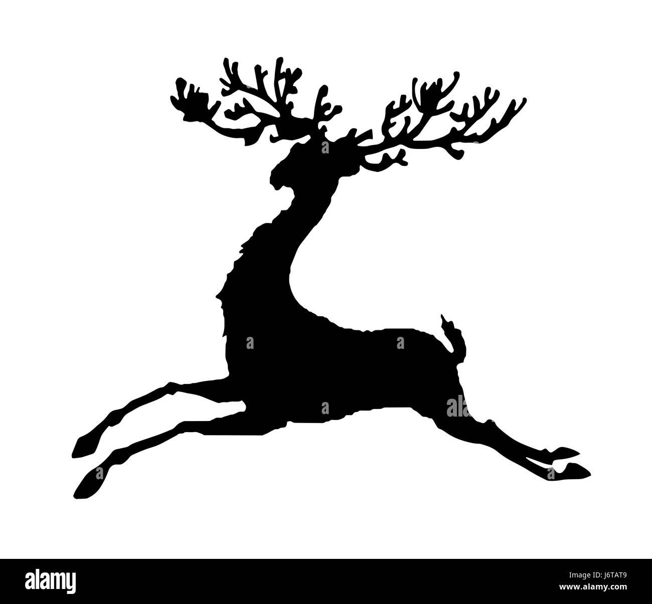 black silhouette running deer vector