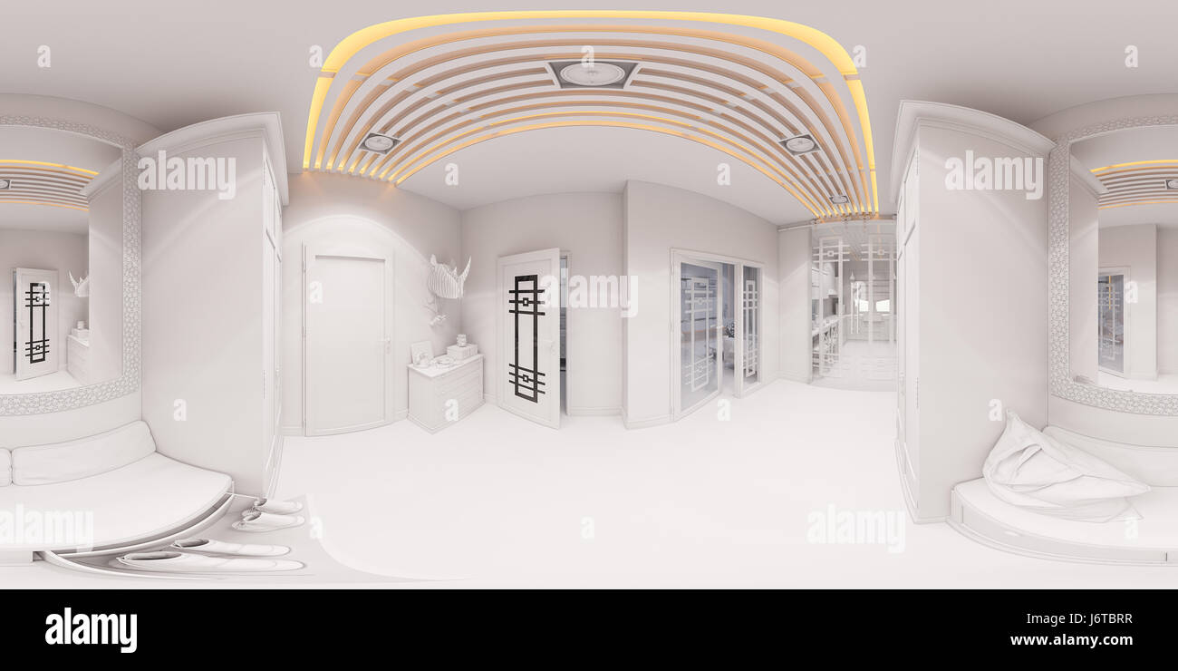 Merveilleux 3d Illustration Hall Interior Design In Classic Style. Render Is Made,  Seamless 360 Degree Spherical Panorama Without Textures And Materials In  Gray T