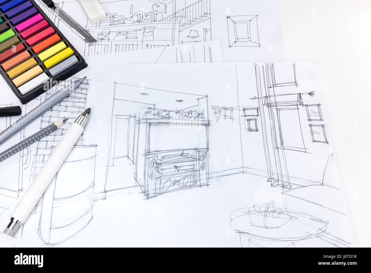 Freehand sketch of living room interior and drawing tools for Interior design drawing tools