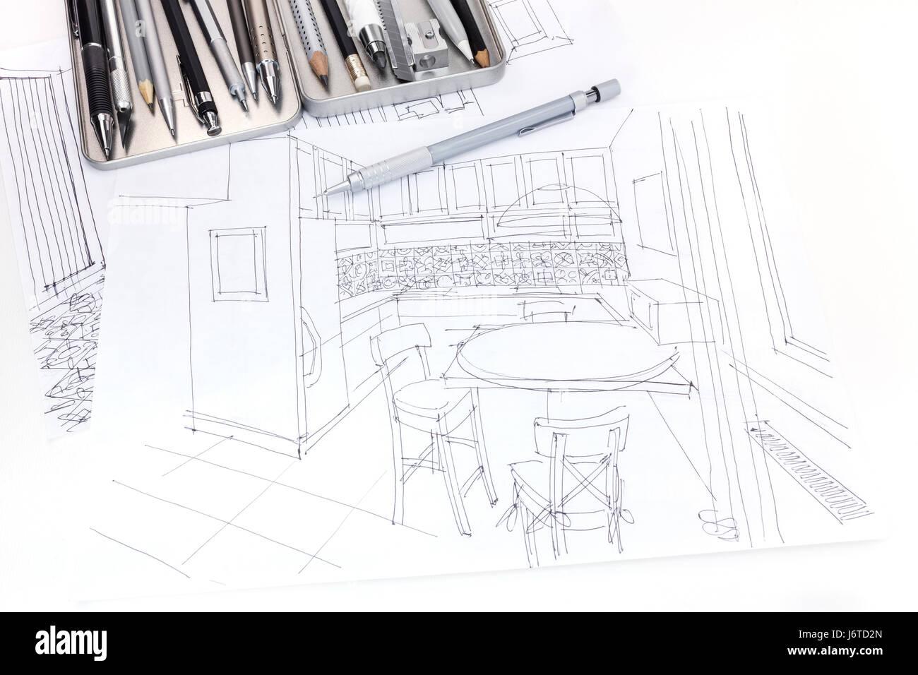 Hand drawn sketch of kitchen interior and furniture blueprint with hand drawn sketch of kitchen interior and furniture blueprint with drawing tools malvernweather Gallery