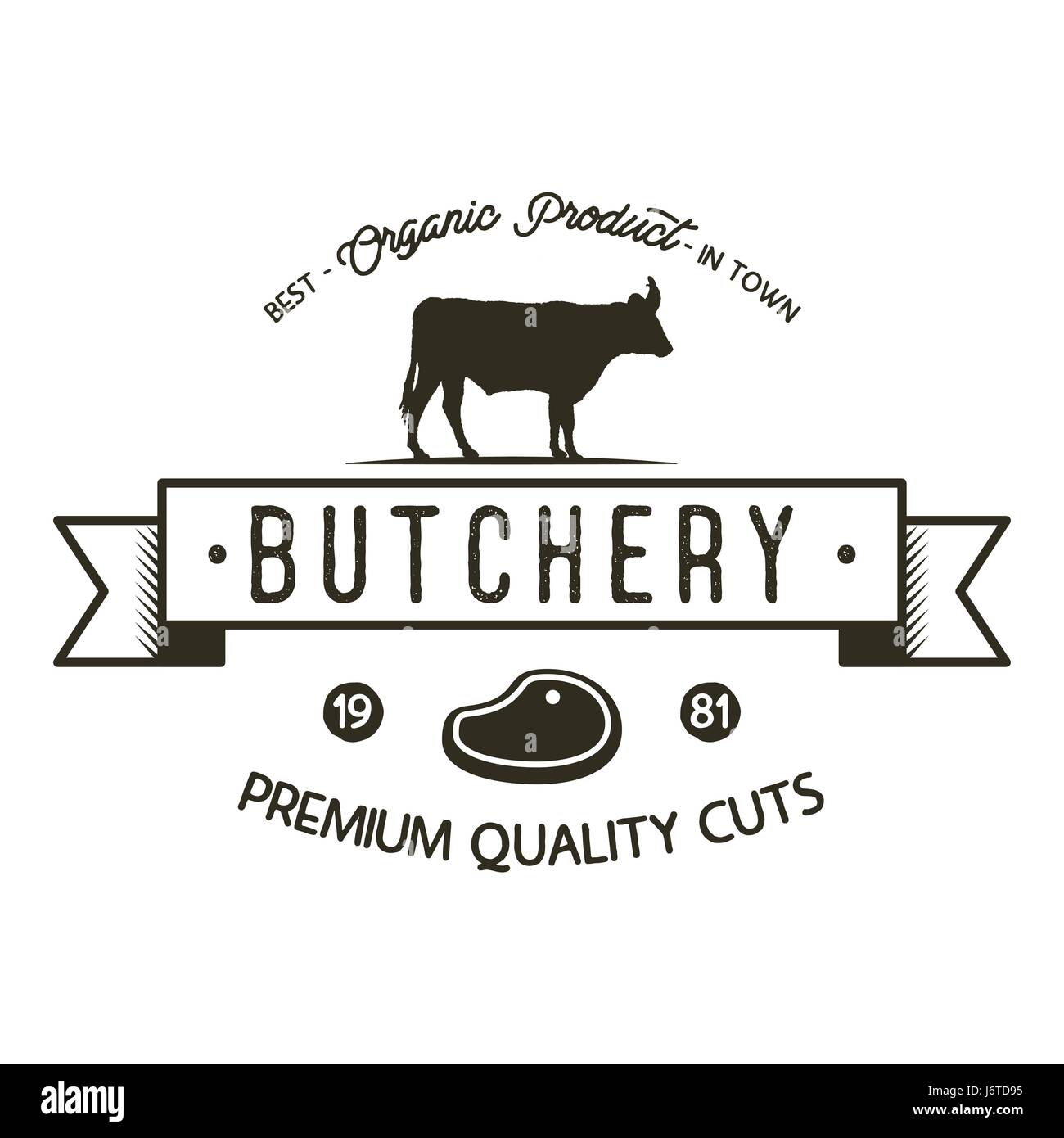 Butchery shop logo template old style badge design with old style badge design with silhouette cow symbol and typography elements stock vector isolated on white background buycottarizona