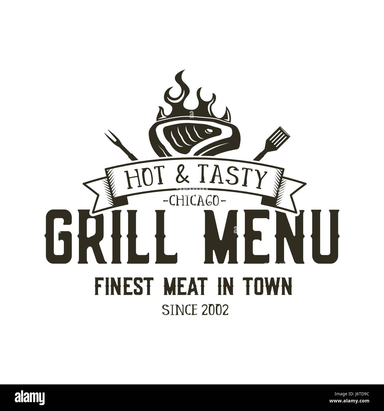 Grill menu emblem template steak house restaurant logo design steak house restaurant logo design with bbq symbols meat fire barbeque tools vintage monochrome style retro logotype isolated on white buycottarizona Image collections