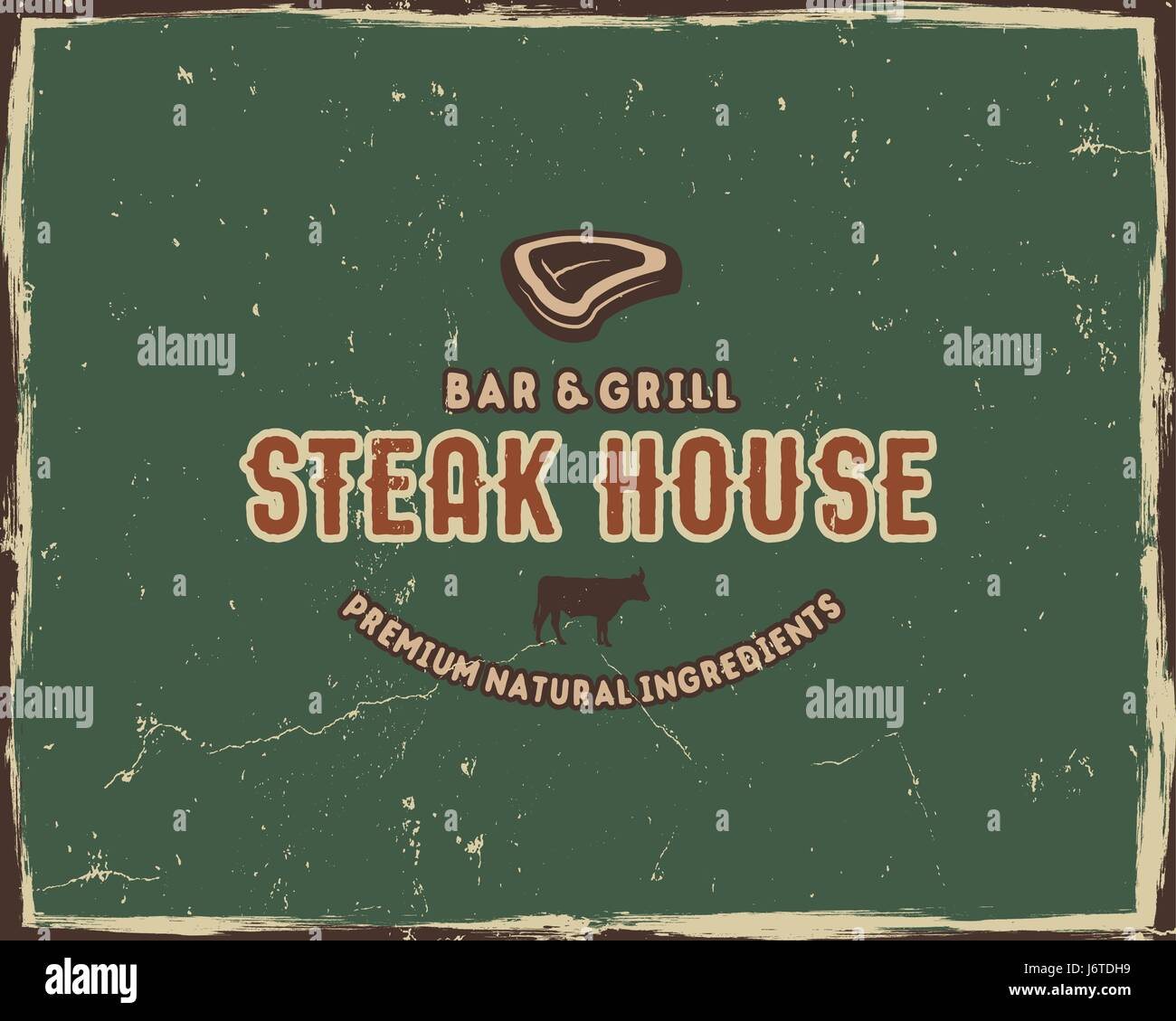 Steak house typography poster template in retro old style. Offset ...