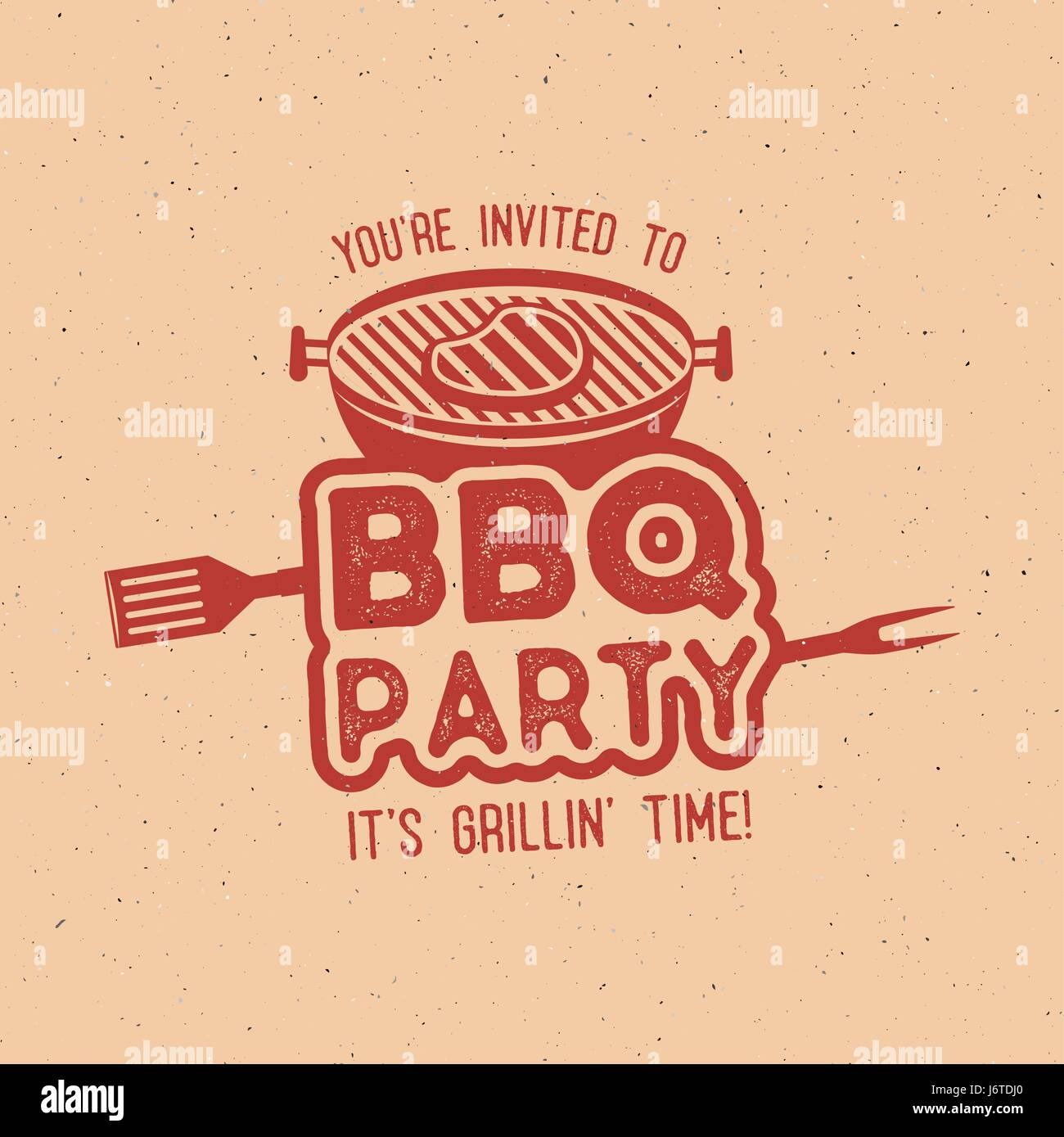 bbq party typography poster template in retro old style