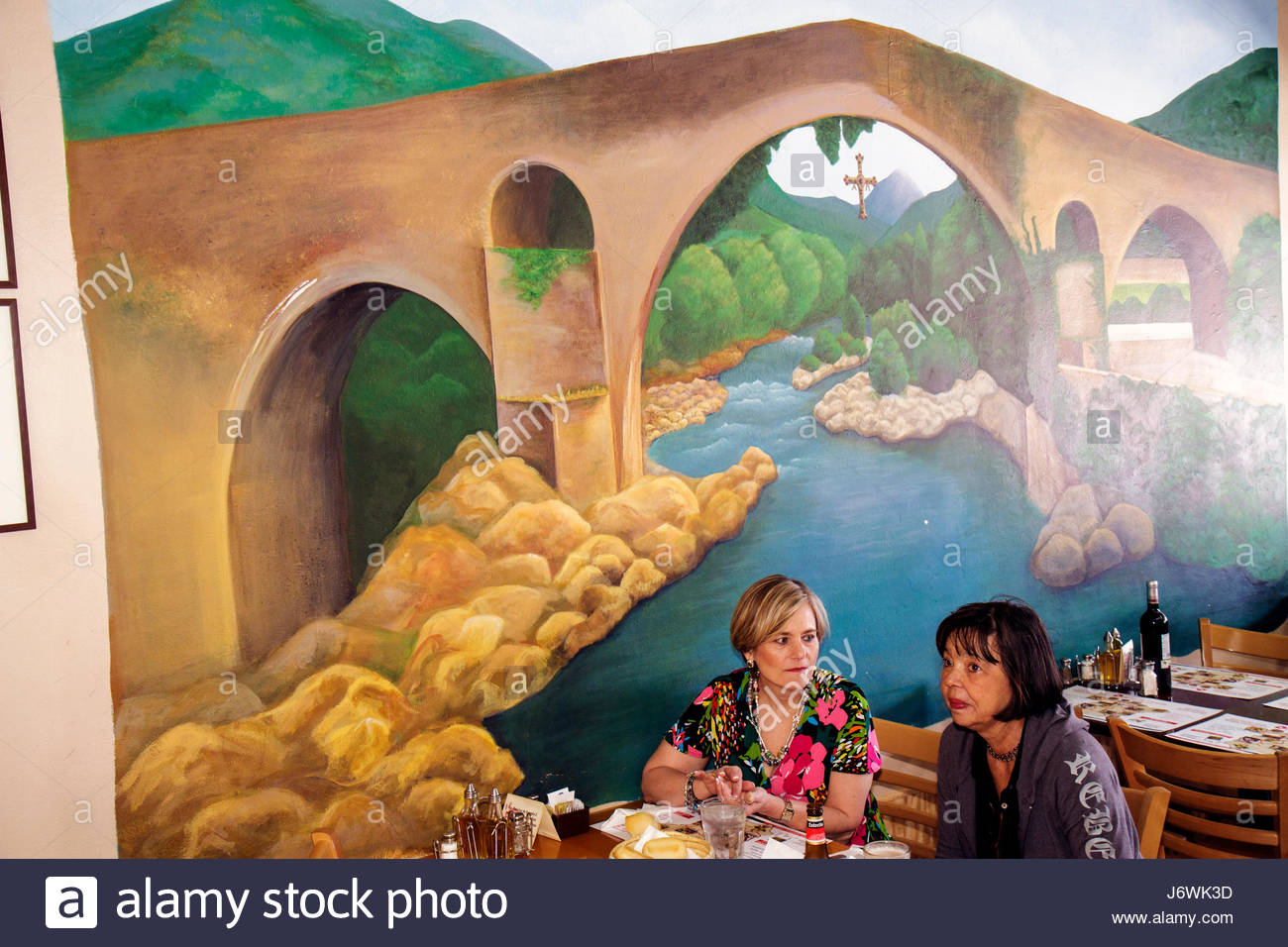 Mural on a restaurant stock photos mural on a restaurant for Mural restaurant
