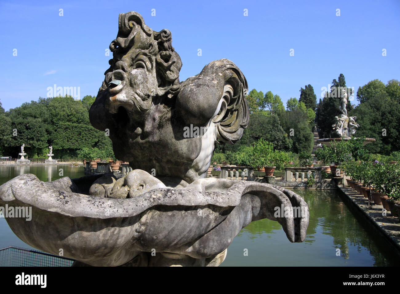 Marble Statues In The Boboli Gardens In Florence   Stock Image