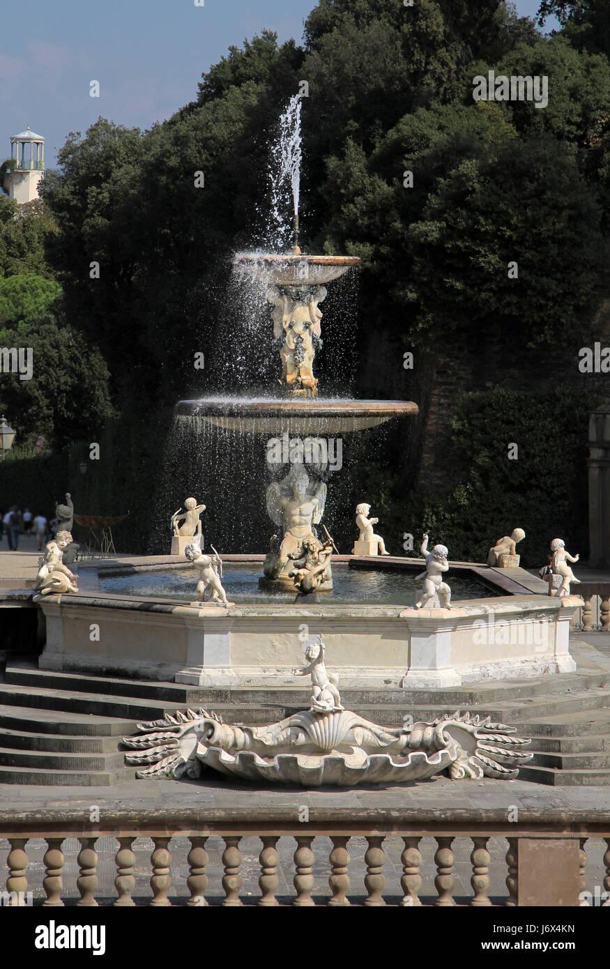 Neptune Fountain In The Boboli Gardens In Florence   Stock Image