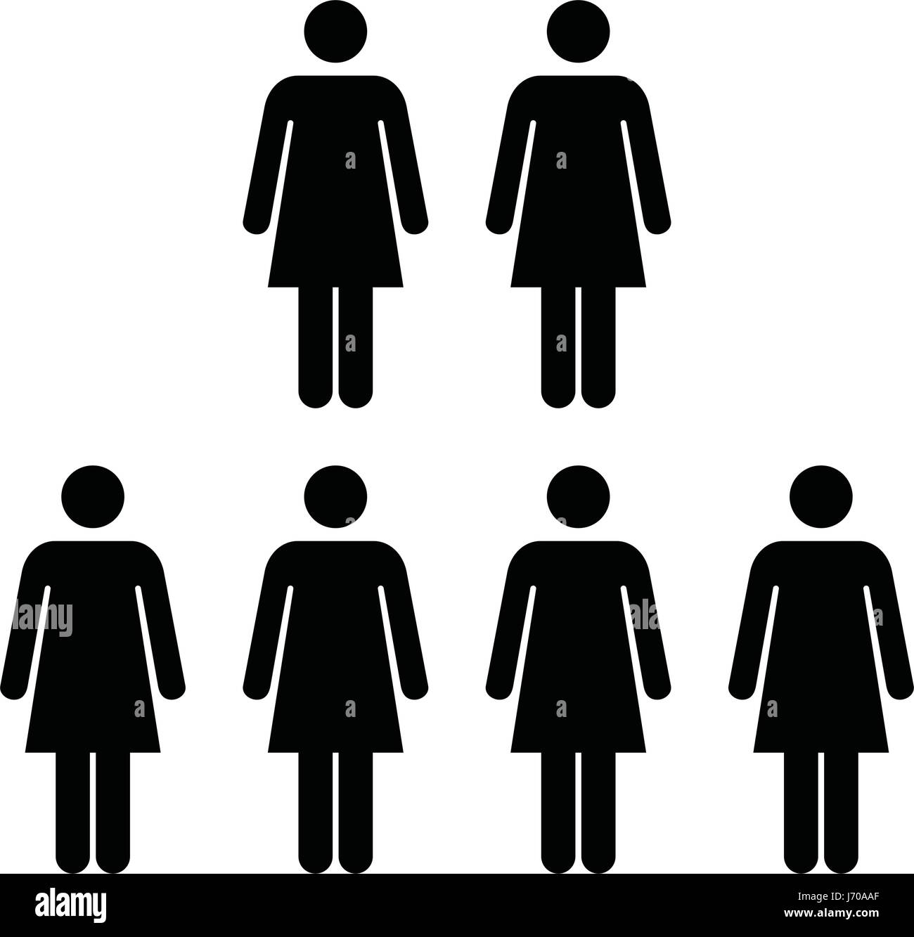 People Icon Vector Group Of Women Team Symbol For Business Stock