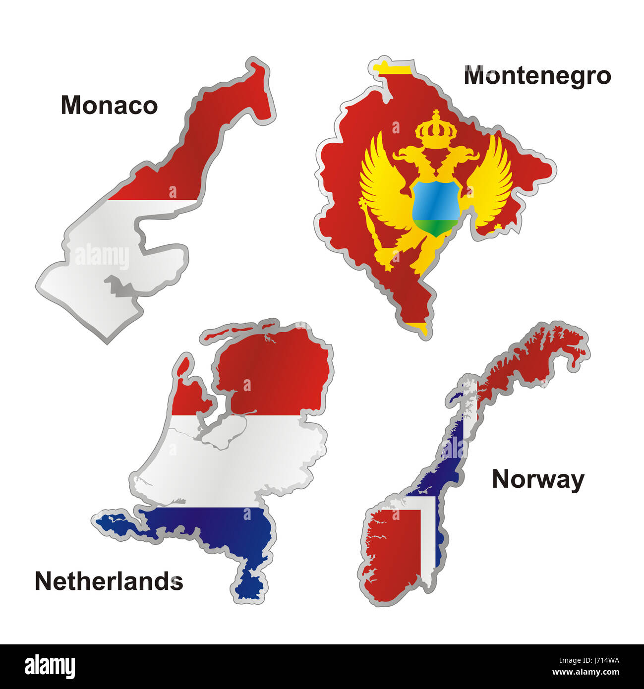 norway flag netherlands monaco map atlas map of the world isolated