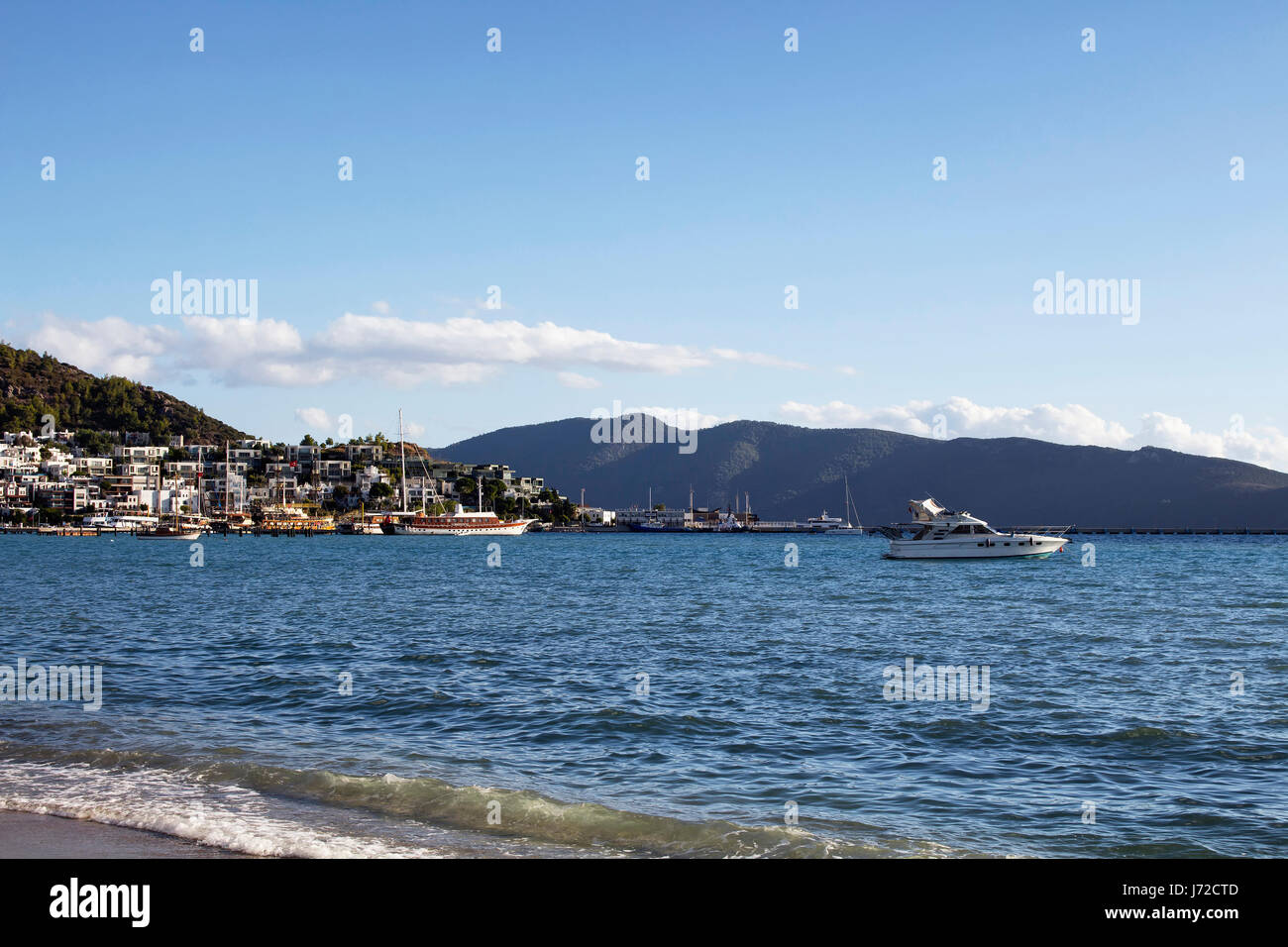 view of yachts summer houses and landscape in bodrum southwestern