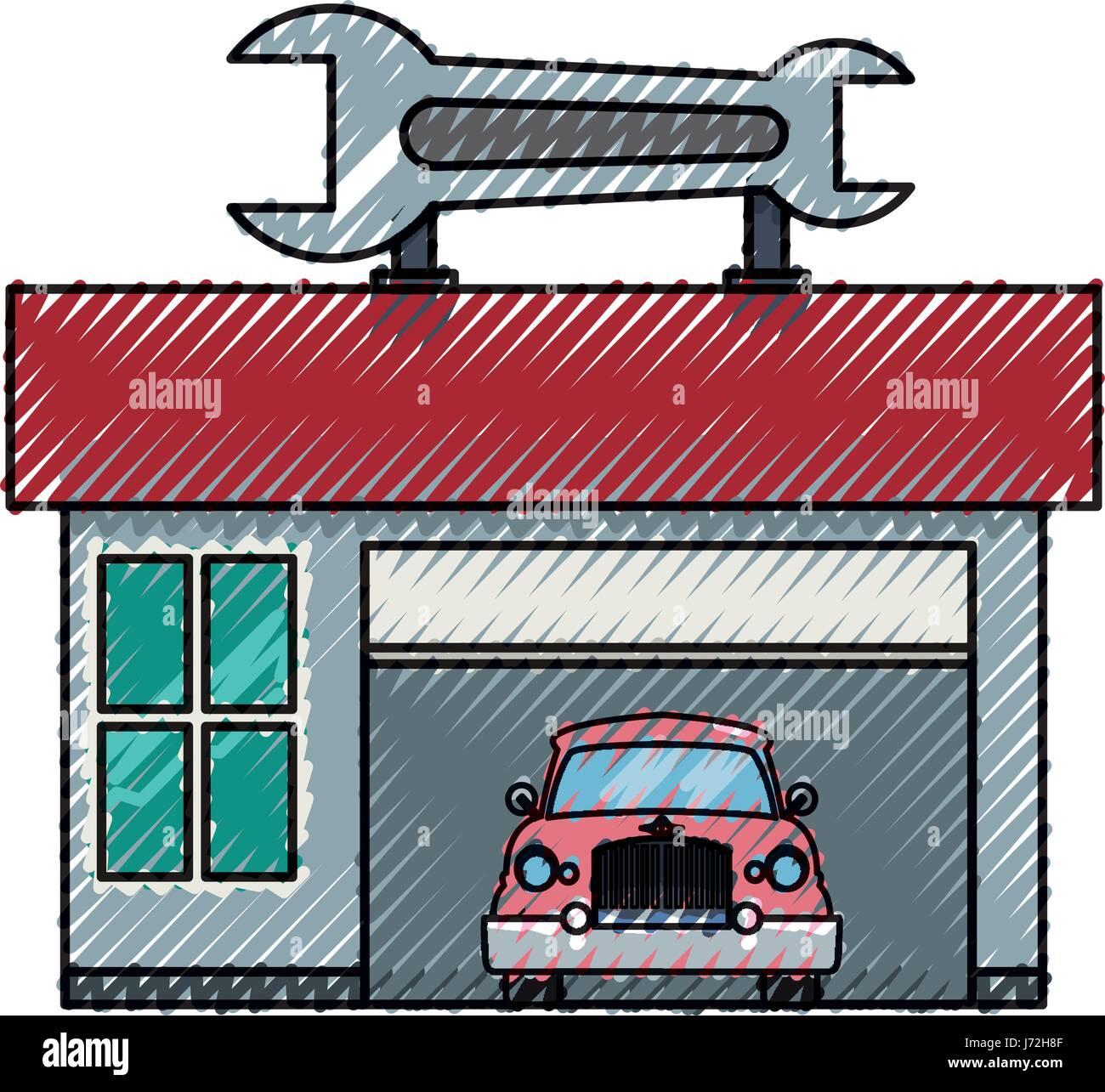 Garage Door Mechanic Stock Vector Art Illustration Vector Image