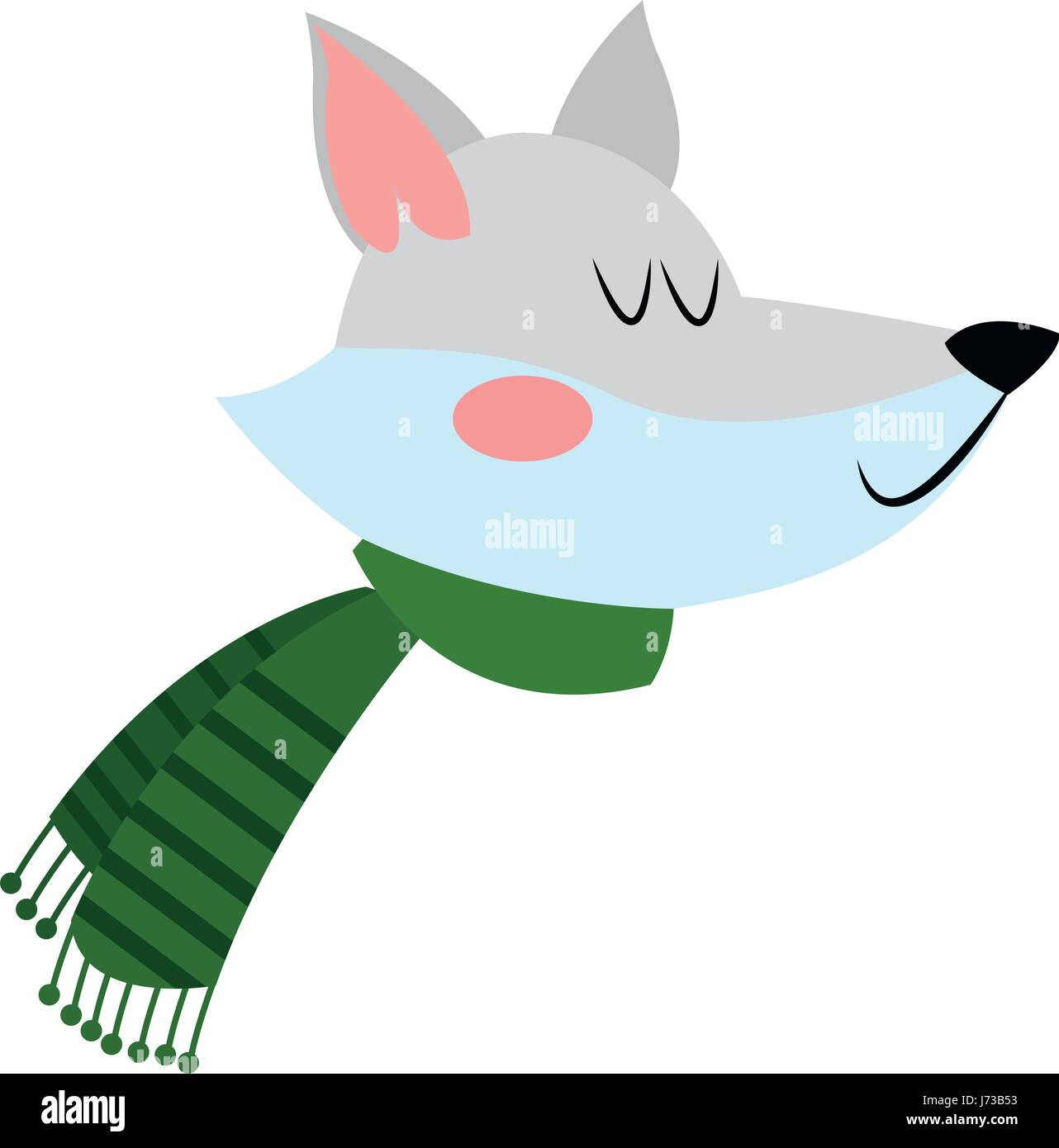 Fox with a hat new year or christmas animal isolated on white - Face Fox With A Scarf Christmas Animal Celebration Stock Vector