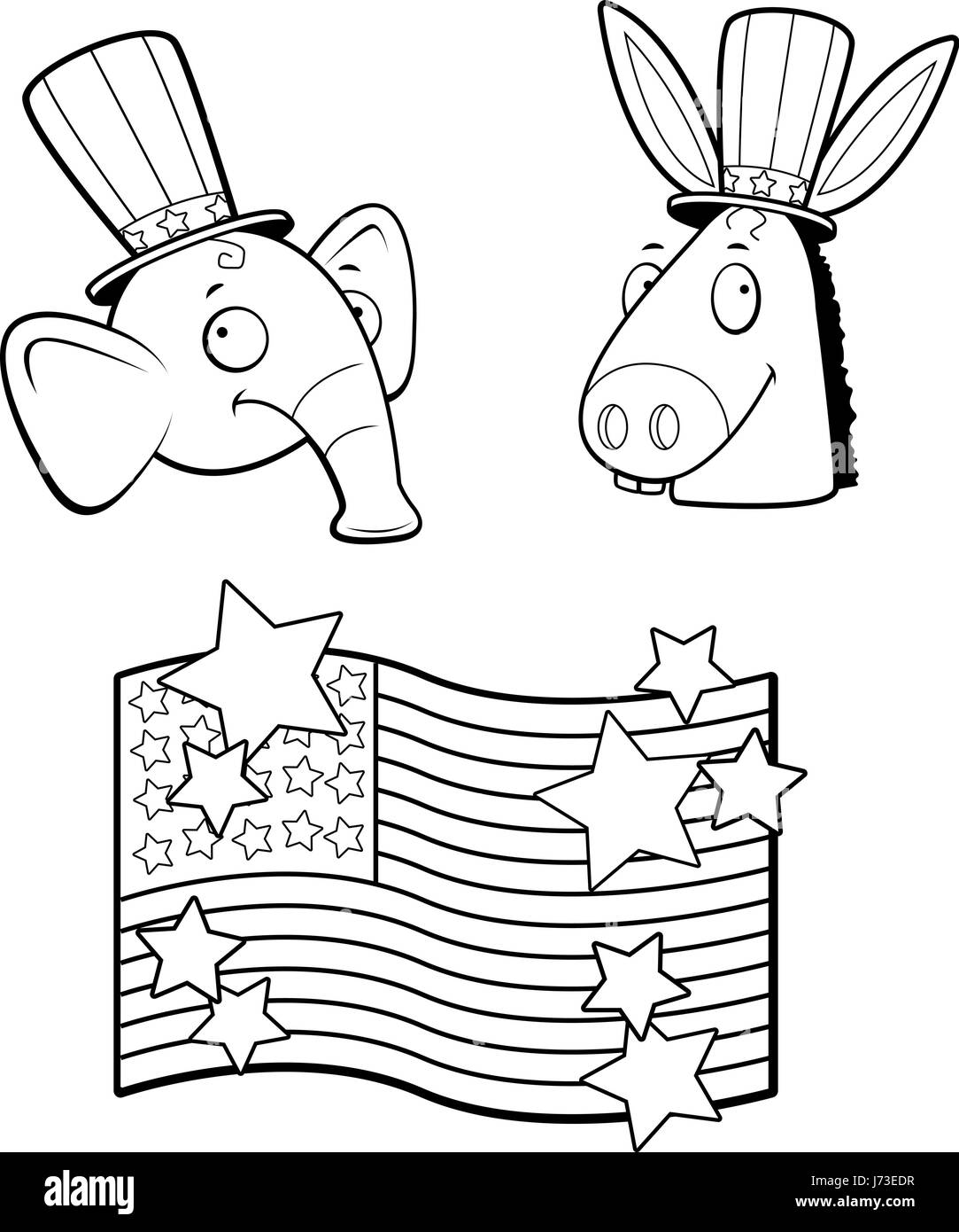 A Cartoon Donkey And Elephant Political Characters