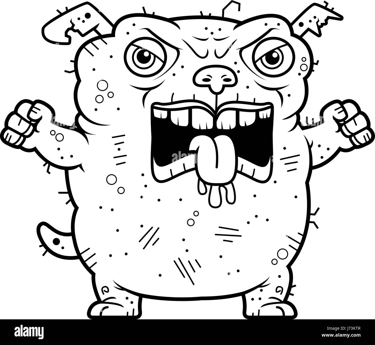 a cartoon illustration of an ugly dog looking angry stock vector