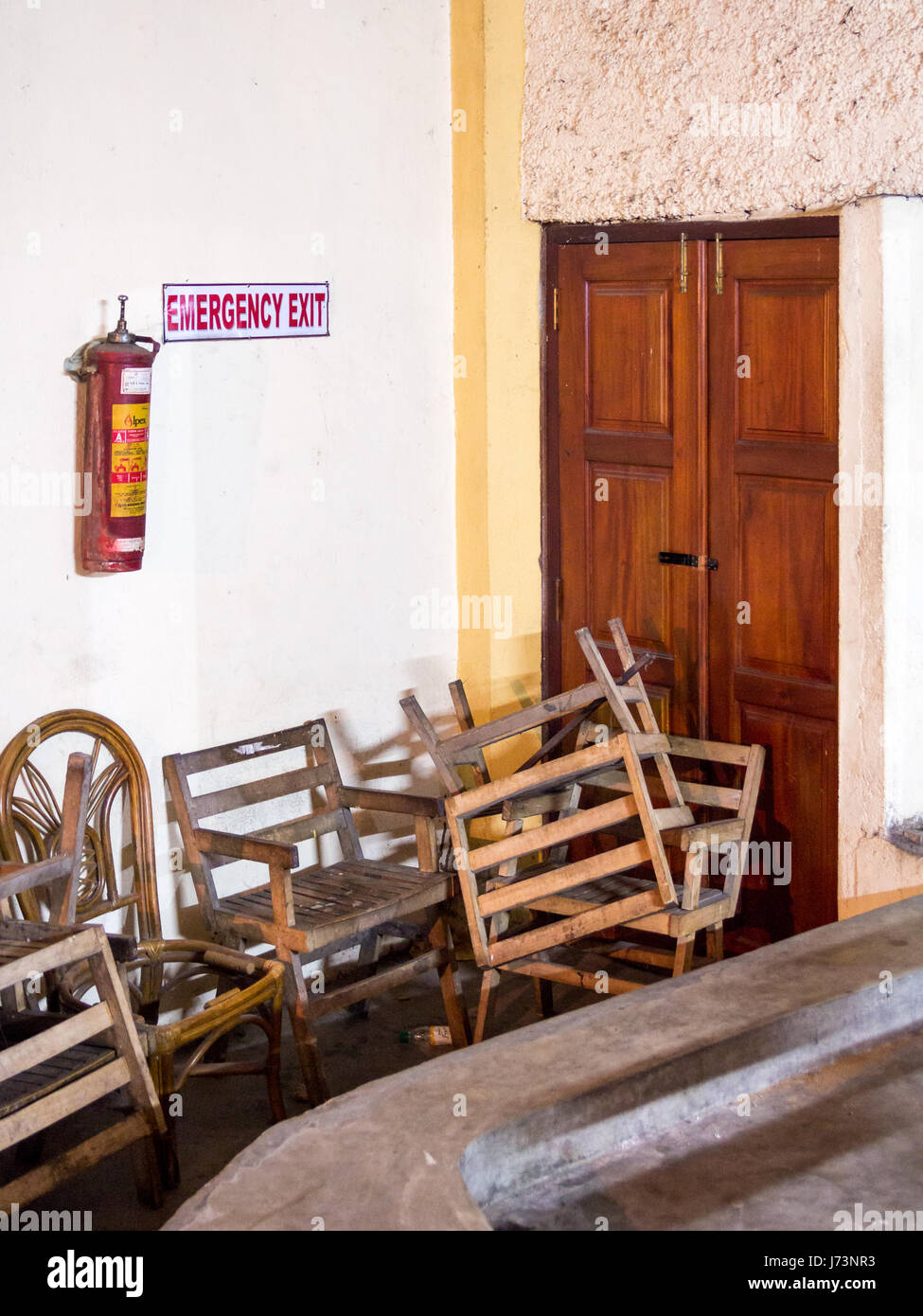 Emergency fire exit of a theather in Kandy, Sri Lanka, blocked by ...