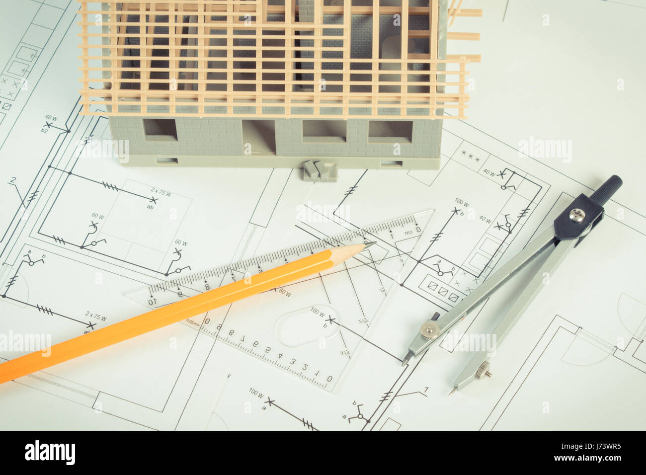 Small house under construction and accessories for drawing on Stock ...