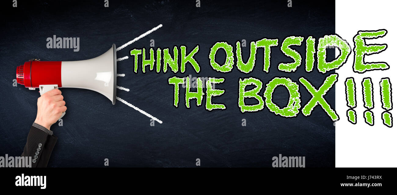 Think Outside The Box Wide Slate Blackboard Chalkboard With Hand Holding Megaphone Business Concept Background
