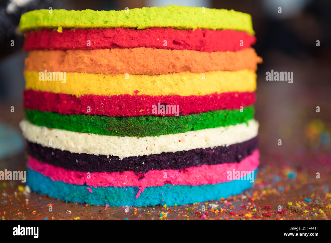 Making A Rainbow Layered Cake