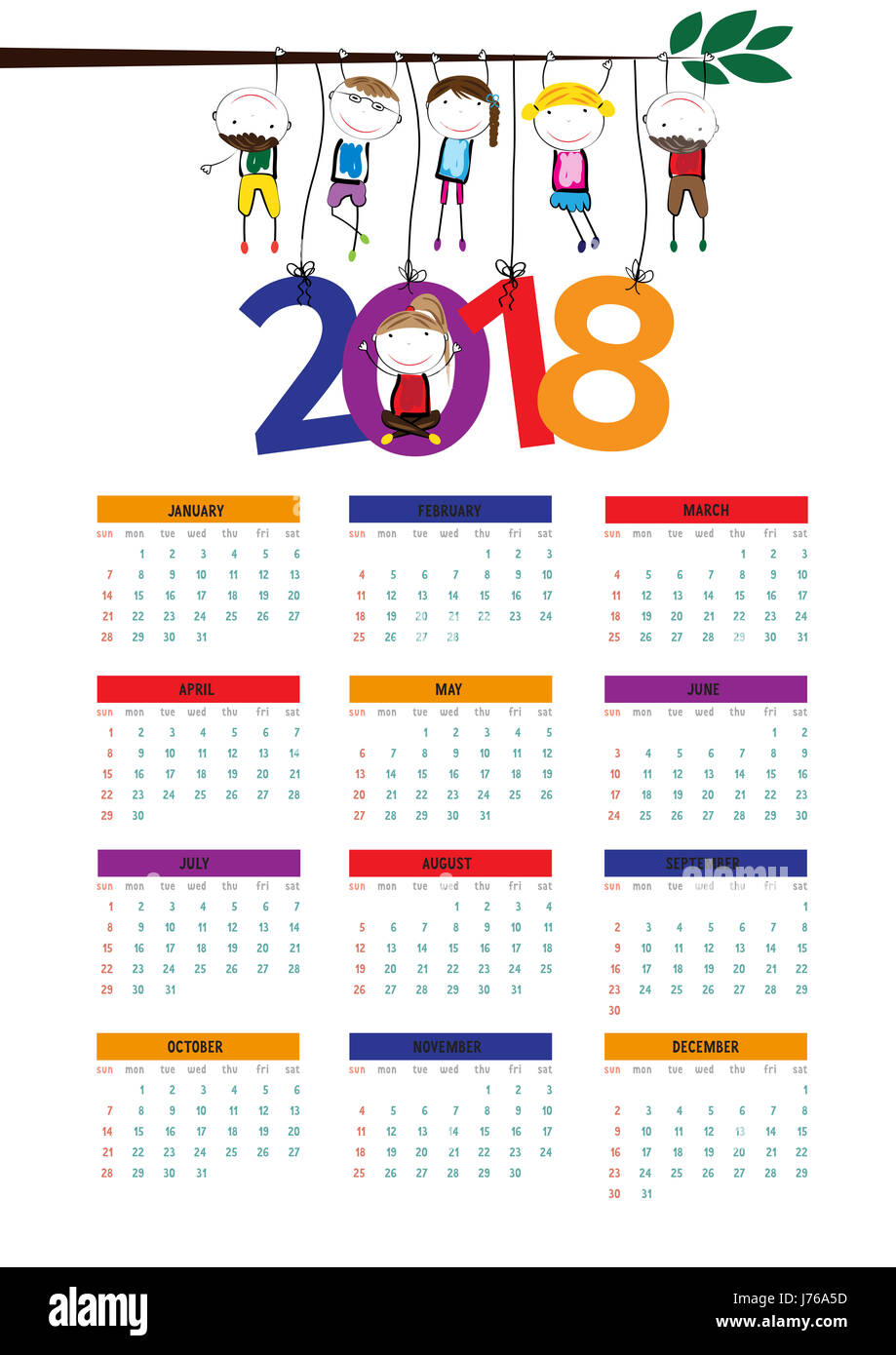 Cute calendar for the New Year 2018 Stock Photo, Royalty Free ...