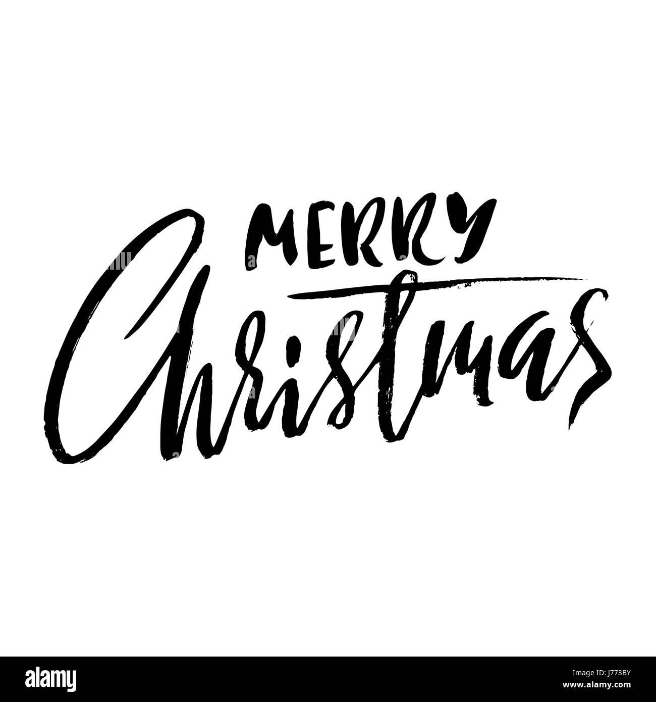 Hand drawn phrase merry christmas modern dry brush