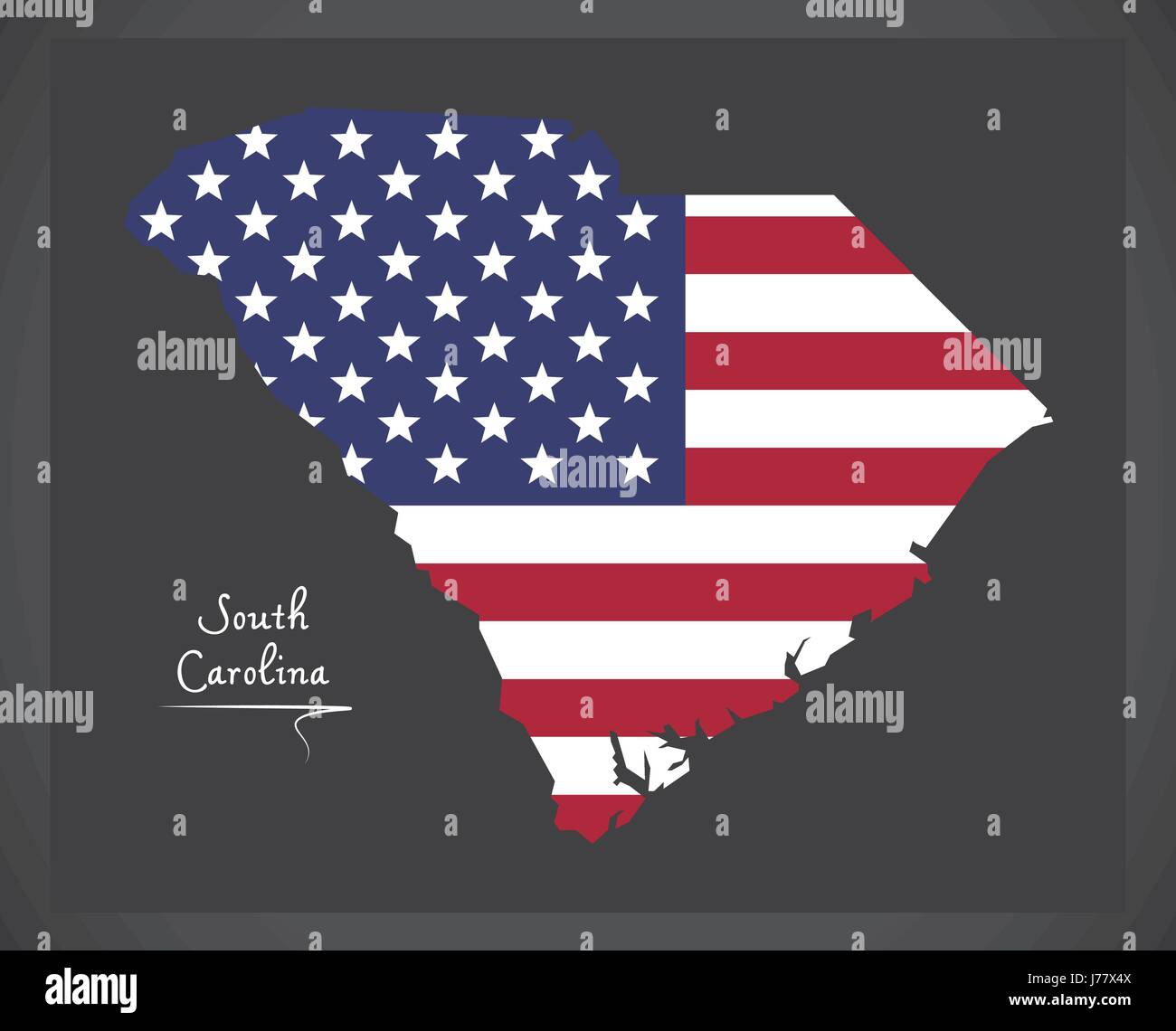 South Carolina map with American national flag illustration Stock