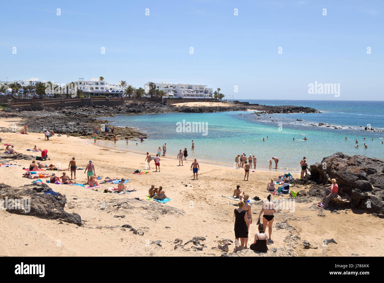 Lanzarote Beach People On The Beach At Playa Bastian Costa Teguise East Coast Lanzarote Canary Islands Europe