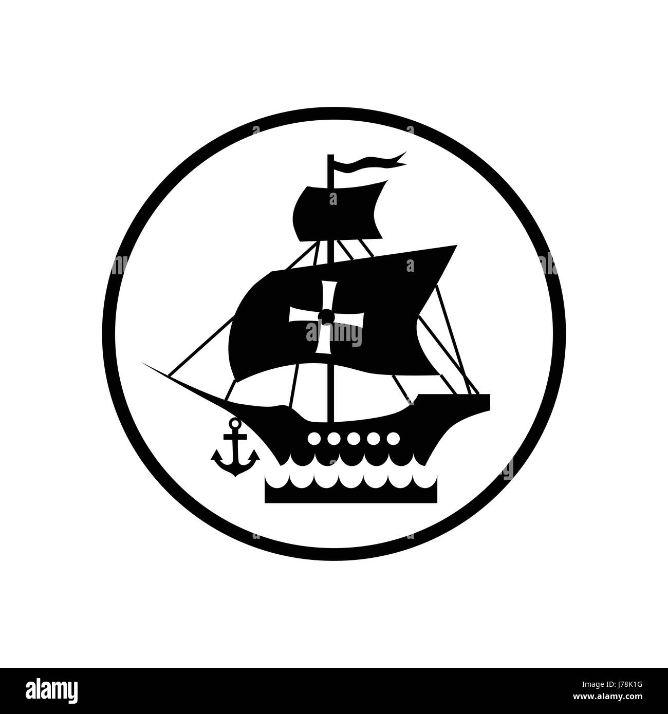 Ship with flag of columbus icon in simple style isolated on white ship with flag of columbus icon in simple style isolated on white background maritime transport symbol vector illustration buycottarizona