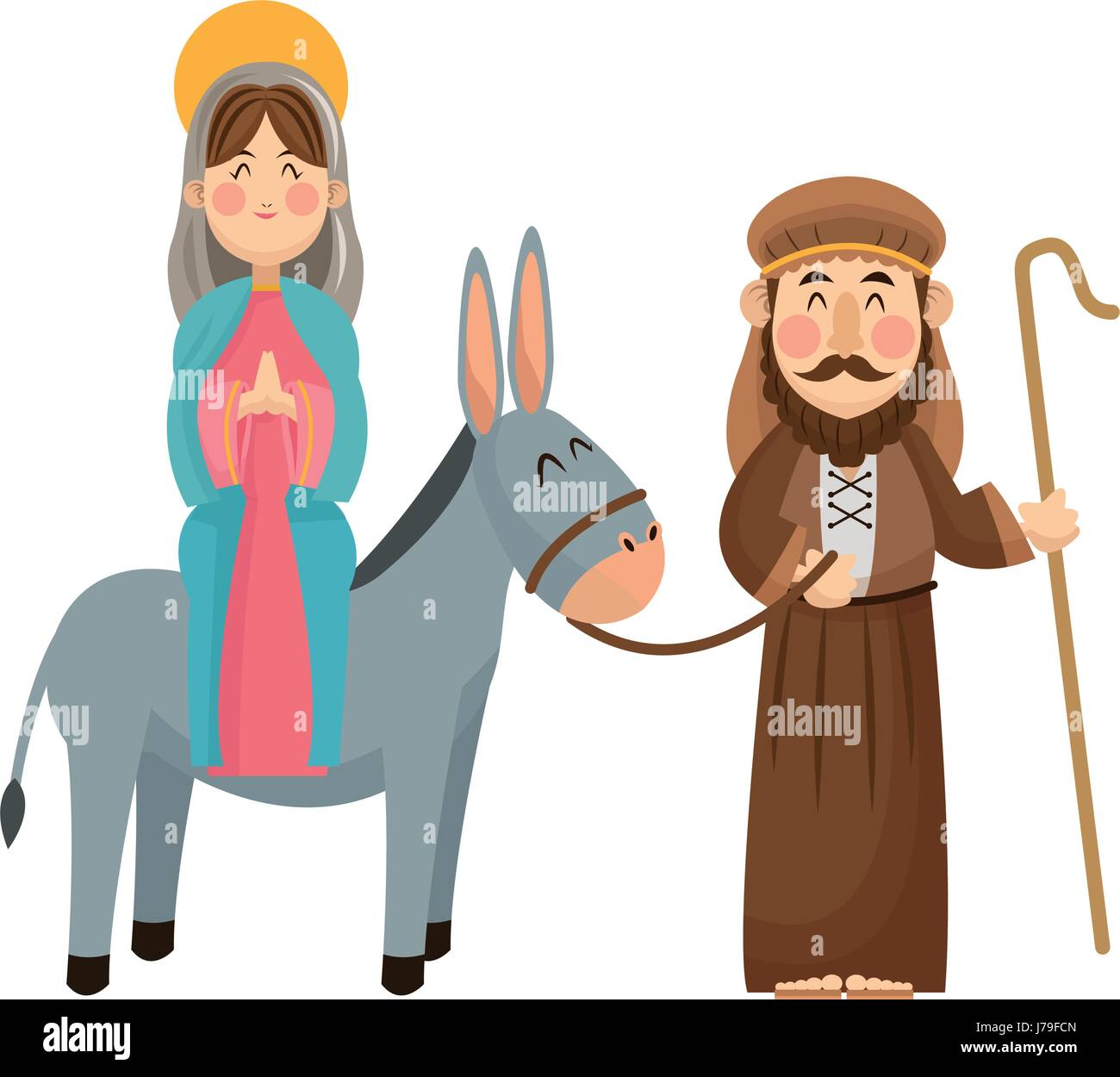 virgin mary joseph donkey scene nativity Stock Vector Art