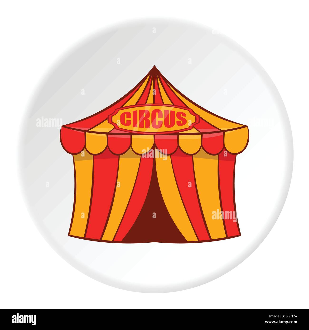 Striped circus tent icon in cartoon style isolated on white circle background. Entertainment symbol vector illustration  sc 1 st  Alamy & Striped circus tent icon in cartoon style isolated on white circle ...