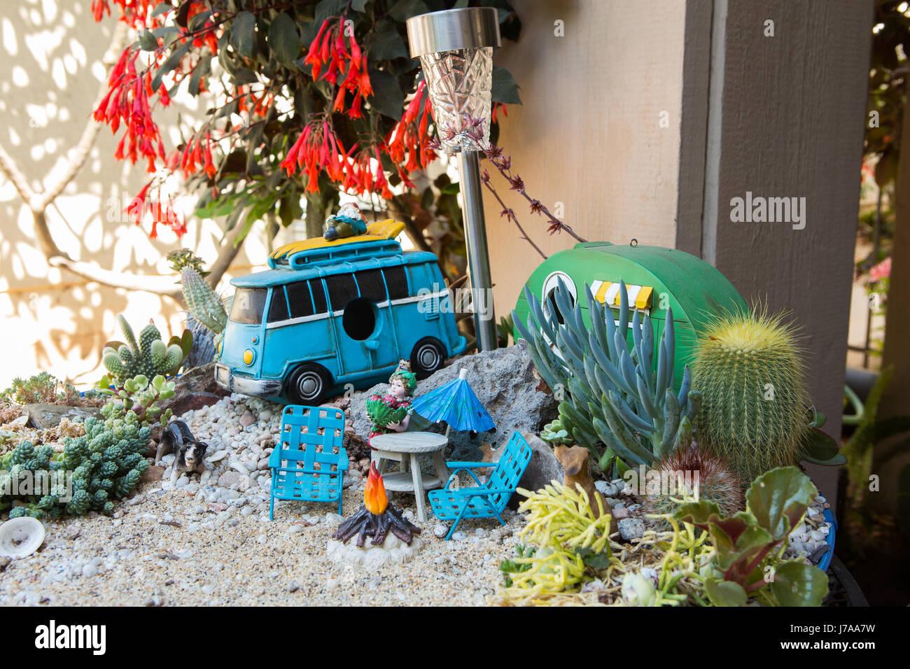 Cactus Garden. Miniature Cactus Fairy Garden In A Tabletop Planter.