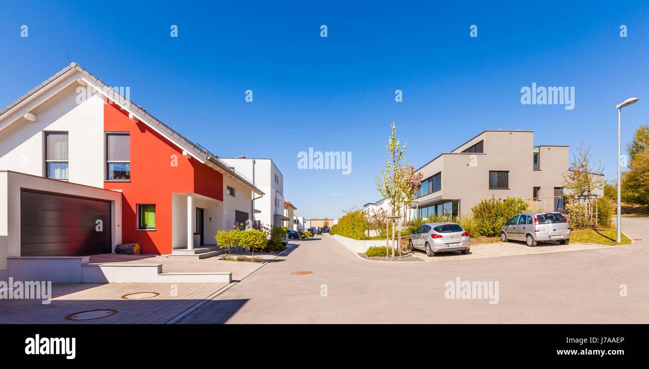Deutschland, Baden Württemberg, Blaustein, Neubaugebiet, Moderne  Einfamilienhäuser, Neubau, Häuser, Bauen, Immobilie
