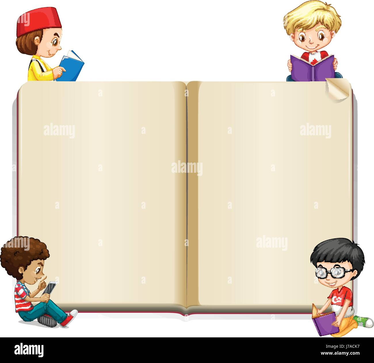 book template with kids reading illustration - Kids Book Template