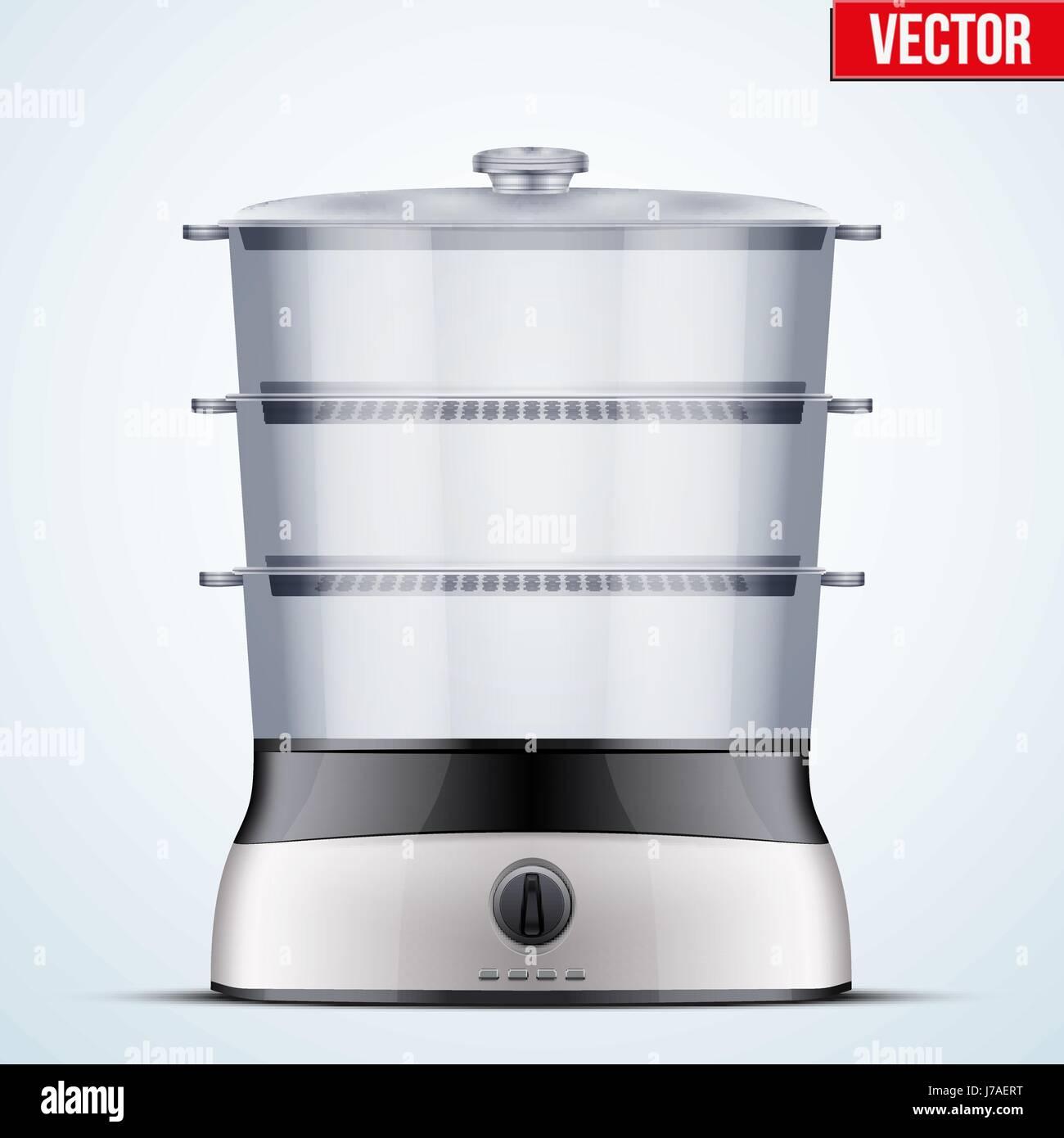 Uncategorized Domestic Kitchen Appliances original electric food steamer or double boiler domestic kitchen appliances and supplies vector illustration