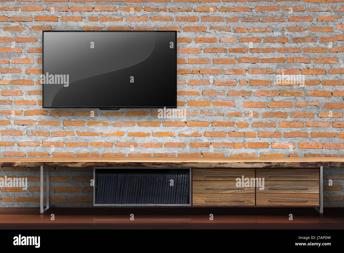 Stock Photo   Tv On Red Brick Wall With Empty Wooden Table Media Furniture  In Living Room Interior