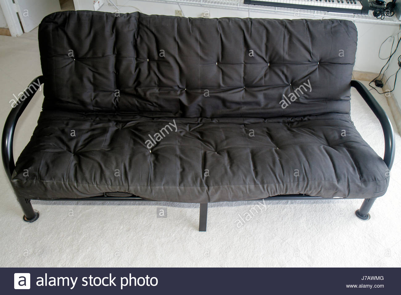 miami beach florida futon sofa bed black mattress stock photo