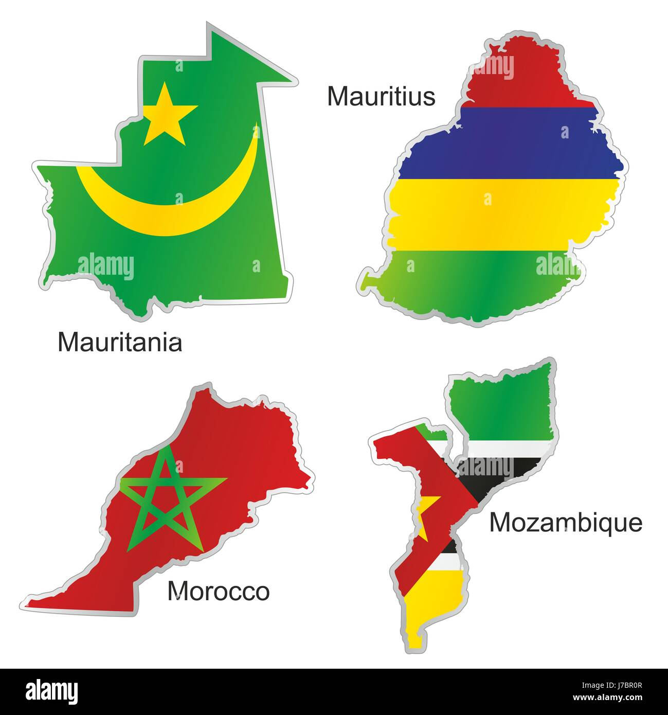 Africa Flag Morocco Mauritius Mozambique Mauritania Map Atlas Map - Mauritius map africa
